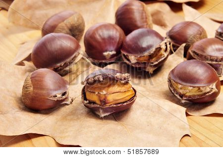 some roasted chestnuts, typical snack in All Saints Day in Catalonia, Spain