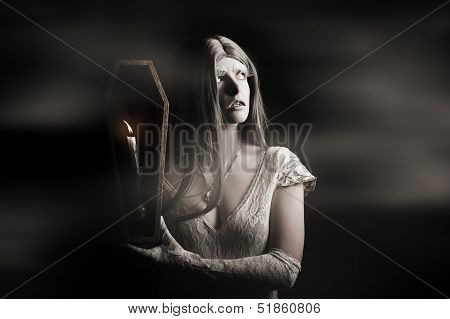 Spooky Gothic Girl In Haunted Horror House