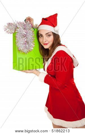 Beautiful Woman In New Year Costume With Spangle  Isolated On White