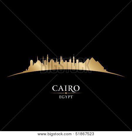 Cairo Egypt City Skyline Silhouette Black Background