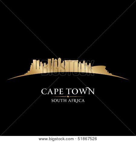 Cape Town South Africa City Skyline Silhouette Black Background
