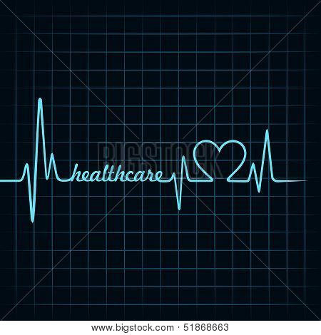heartbeat make a healthcare text and heart symbol stock vector