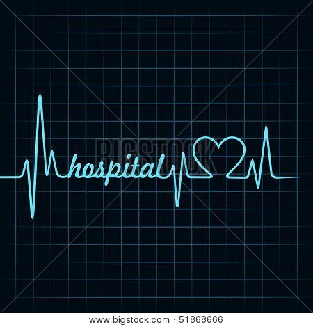 heartbeat make a hospital text and heart symbol stock vector
