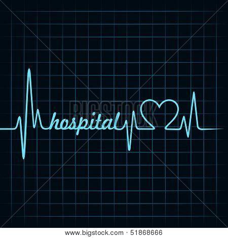 heartbeat make a hospital text and heart symbol stock vector