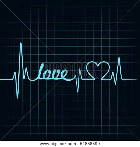 heartbeat make a love text and heart symbol stock vector