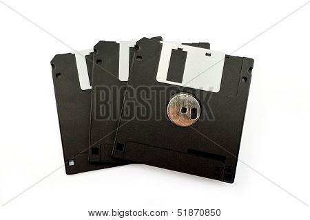Back Of Old Diskette Isolated On White Background