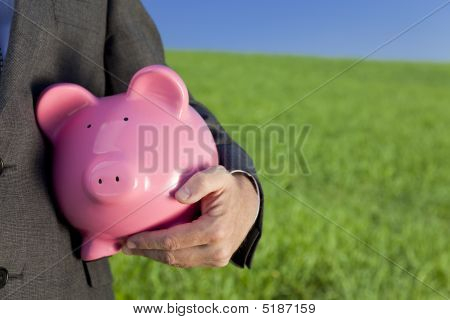 Green Investment Pink Piggy Bank