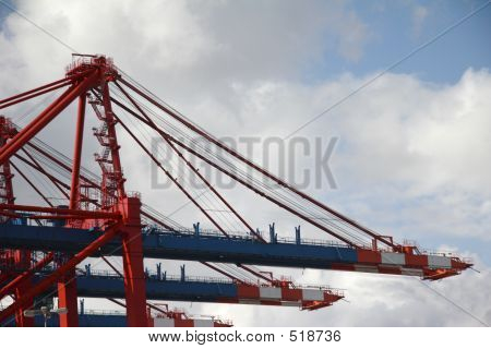 Crane At Landing Stage At Hamburg Harbor, Germany (B)