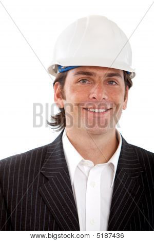 Busines Man With A Helmet