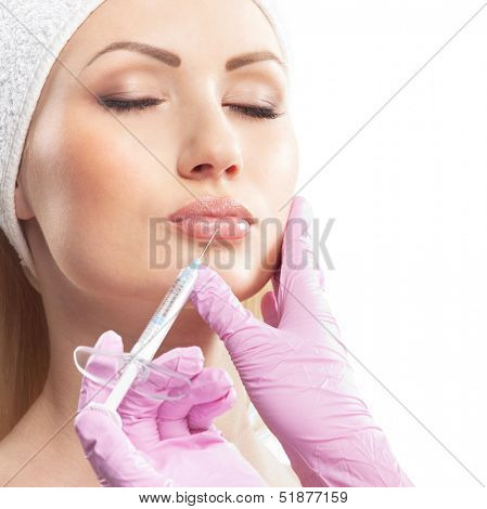 Botox therapy over white background (closeup image)