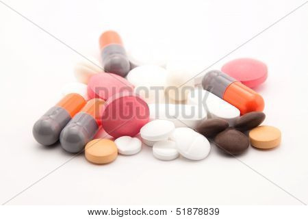 Colorful Pills On White Background