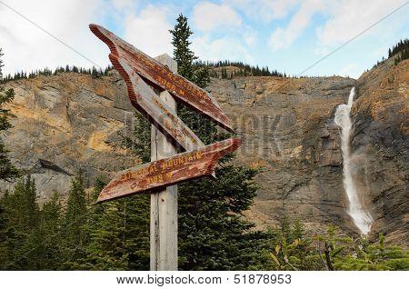 Weathered Sign At Takakkaw Falls
