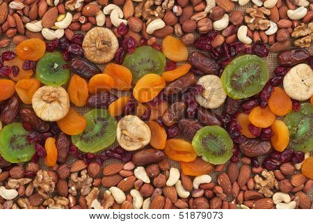 Nuts And Dried Fruits Are On Burlap