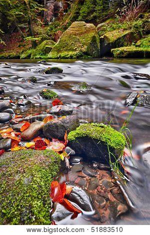 river Kamenice in autumn with long exposure, Bohemian Switzerland, Czech Republic
