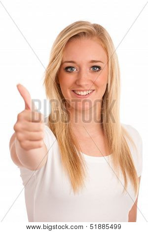 Girl Gesturing Success - Young Blonde Woman Showing Thumb Up