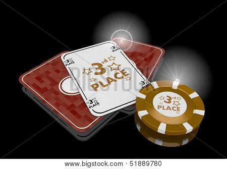 3D Render Of A Exclusive 3Rd Place Icon  On Poker Cards