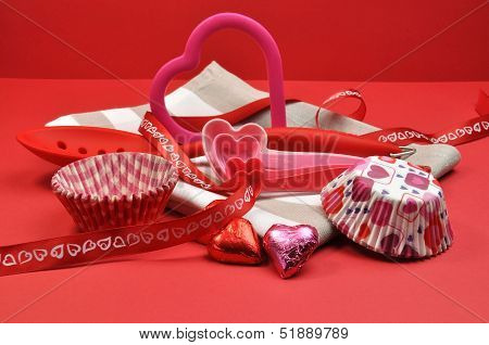Red Heart Kitchenware Preparation For Special Valentine Day Cooking And Baking.