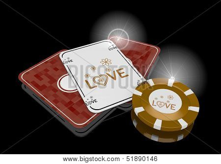 3D Graphic Of A Coltish Love Icon  On Poker Cards