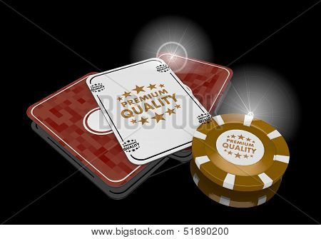 3D Graphic Of A Golden Premium Quality Symbol  On Poker Cards