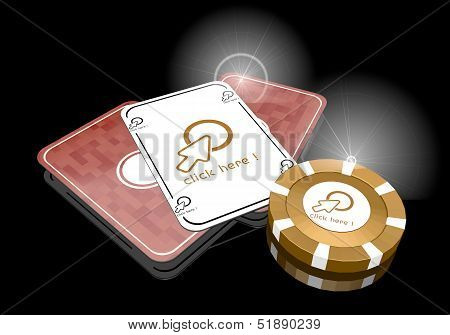 3D Graphic Of A Noble Click Here Symbol  On Poker Cards