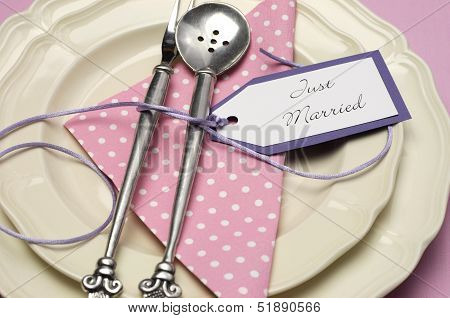 Pale Pink Theme Wedding Table Place Setting With Polka Dot Napkin And Antuque Silverware With Just M