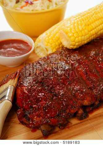 Bbq Ribs With Cole Slaw, Corn And Dipping Sauce