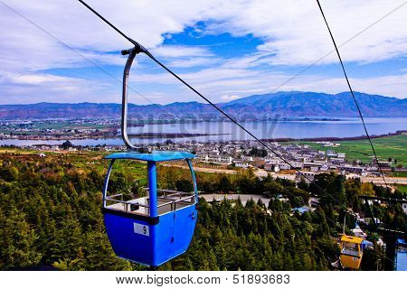 View Point Of Cable Car, Lake, Mountain With Sky