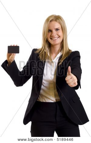 Attractive Businesswoman Holding A Blank Card Ok Sign