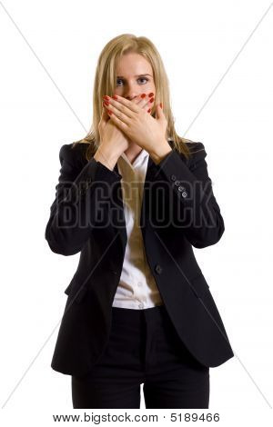 Businesswoman In The Speak No Evil Pose