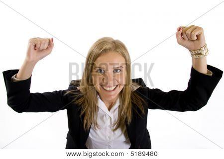 Weitwinkel-Bild von eine attraktive geschäftsfrau gewinnend