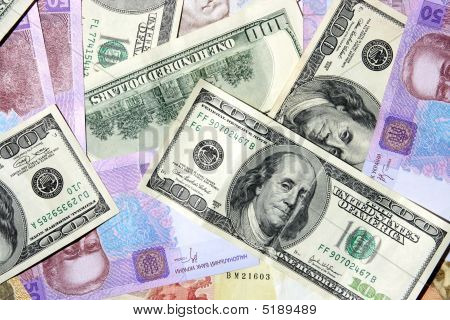 The Ukrainian And American Money Is A Background Texture Invoice