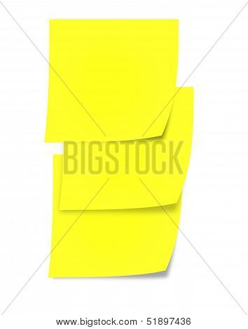 Post-it notes pasted one below another