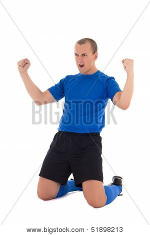 Soccer Player In Blue Uniform Celebrating Goal On White Background