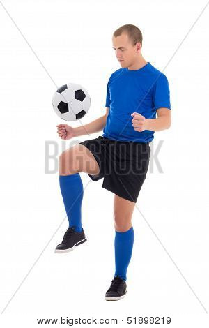 Soccer Player In Blue Uniform Playing With Ball Isolated On White Background
