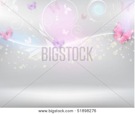 Abstract Background With Florals And Butterflies