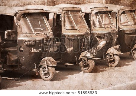 Auto Rickshaw Taxis In Agra, India. Artwork In Retro Style.