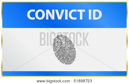 Convict Identification Card With Fingerprint Registration