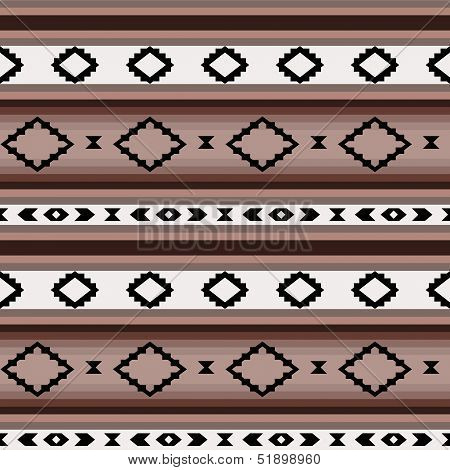 Striped mexican blanket in shades of brown seamless pattern, vector