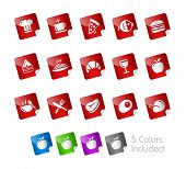 Food Icons - Set 1 of 2 // Stickers Series ---- It includes 5 color versions for each icon in differ