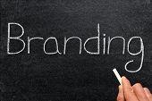 Branding, written on a blackboard. poster
