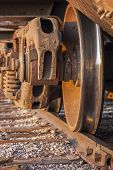 stock photo of boxcar  - Wheels of freight train boxcar on railroad tracks Sterling Colorado - JPG