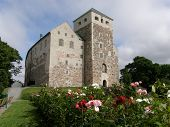 picture of bailey  - 13th-century castle in Turku (Abo), Finland; roses in the foreground