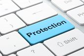 Privacy concept: Protection on computer keyboard background