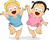 stock photo of diaper  - Illustration of Babies in Diapers Happily Dancing Around While Waving Their Hands in the Air - JPG