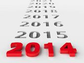 image of calendar 2014  - 2014 future represents the new year 2014 three - JPG