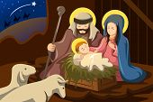 stock photo of mary  - A vector illustration of Joseph Mary and baby Jesus for nativity concept - JPG
