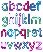 Colorful retro lower case brush alphabet