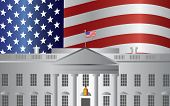 stock photo of senators  - Washington DC President White House Building with US American Flag Background Illustration - JPG