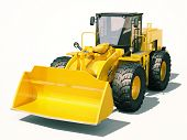 foto of earthwork operations  - Modern front loader on light background with shadow - JPG