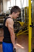 Teen Bodybuilder Exercising Triceps With Gym Equipment